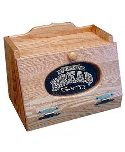 Oak Bread Box Glass Front