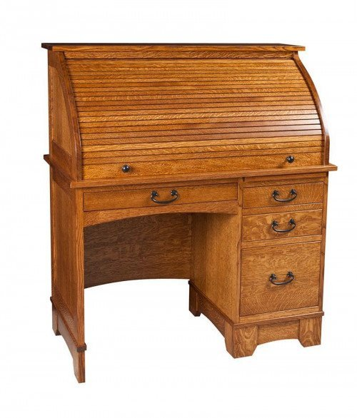 Single Pedestal Noble Mission Rolltop Desk