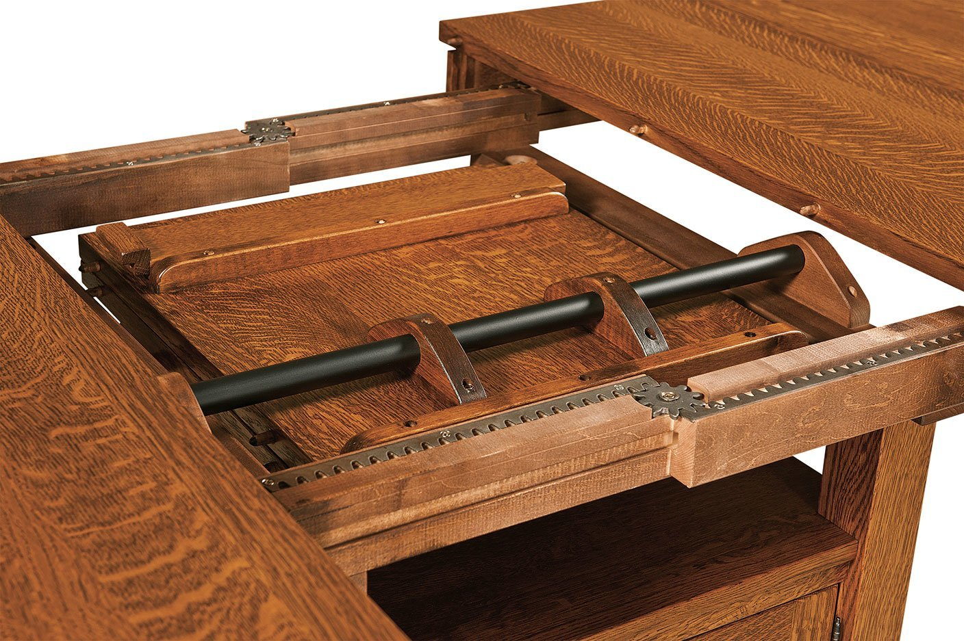 Basset Cabinet Table with Leaf Storage