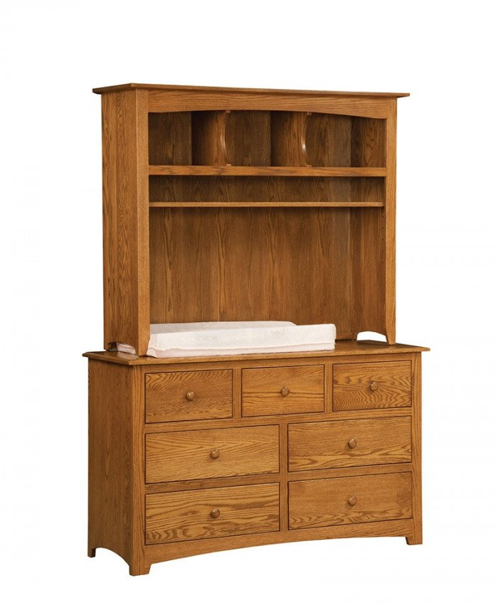 Monterey 7 Drawer Dresser with Hutch Top and Changer