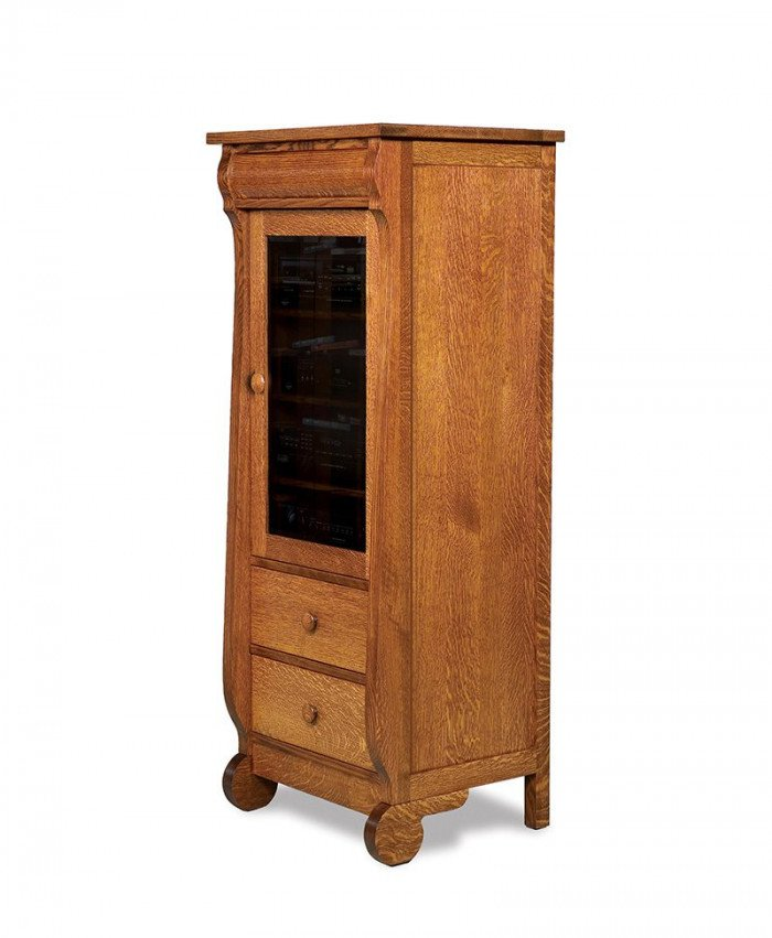 Old Classic Sleigh Stereo Cabinet, 1 door, 2 drawers