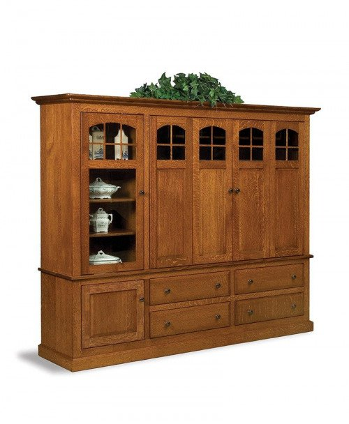 Forks Contemporary Mission 2 pc. LCD cabinet w/bi-fold pocket doors & stereo cabinet