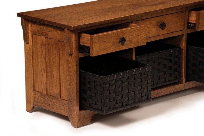 Lattice Weave Drawer Bench--Detail