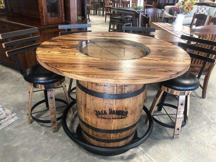Jack Daniels Whiskey Barrel Pub Table w/4 Swivel Bar Stools