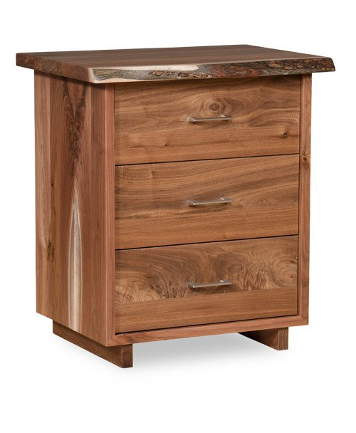 Live Edge 3 Drawer Nightstand